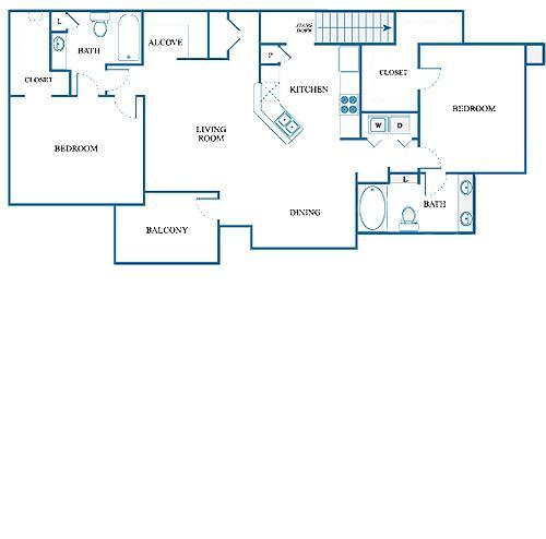 1,232 sq. ft. E1/DOWN floor plan