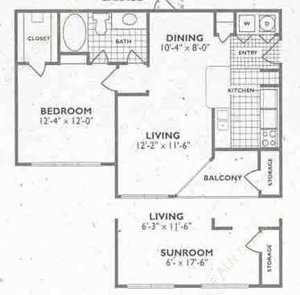 734 sq. ft. to 739 sq. ft. A2 floor plan