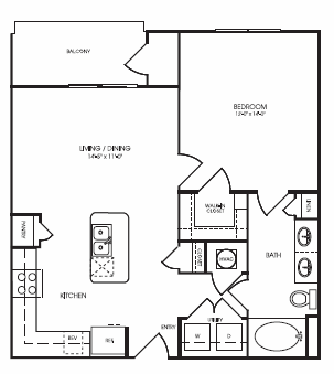 749 sq. ft. Highcroft floor plan