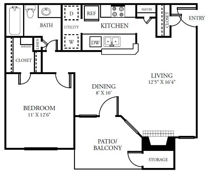 701 sq. ft. A1COTTAG floor plan