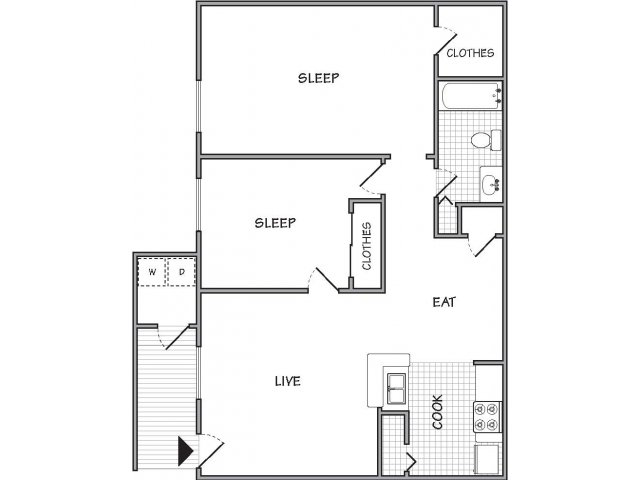 800 sq. ft. Belle floor plan