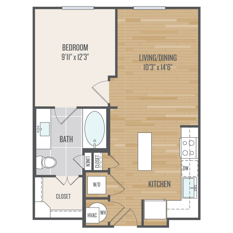 608 sq. ft. E1 floor plan