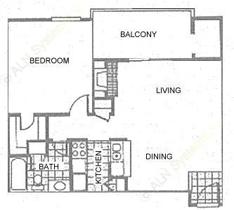 655 sq. ft. 1C1 floor plan