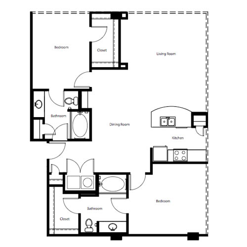 1,194 sq. ft. to 1,264 sq. ft. B2E floor plan