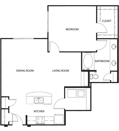 933 sq. ft. A4 floor plan