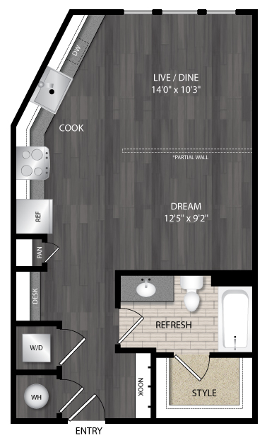 606 sq. ft. E3 floor plan