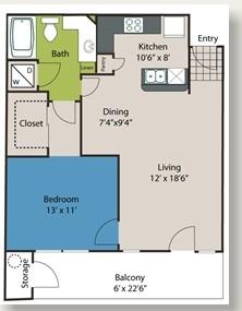 726 sq. ft. A1 floor plan