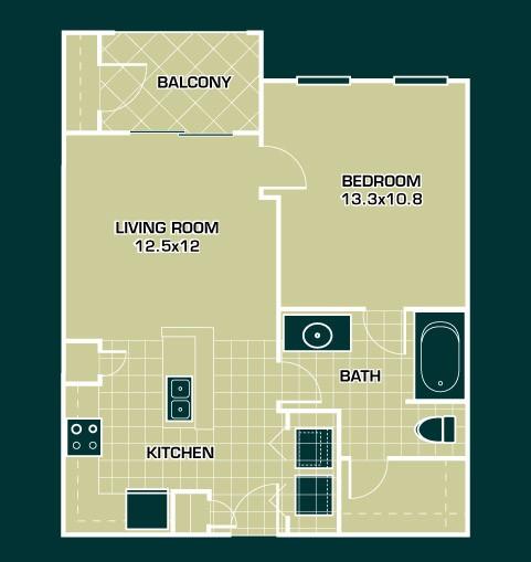 611 sq. ft. A1 floor plan