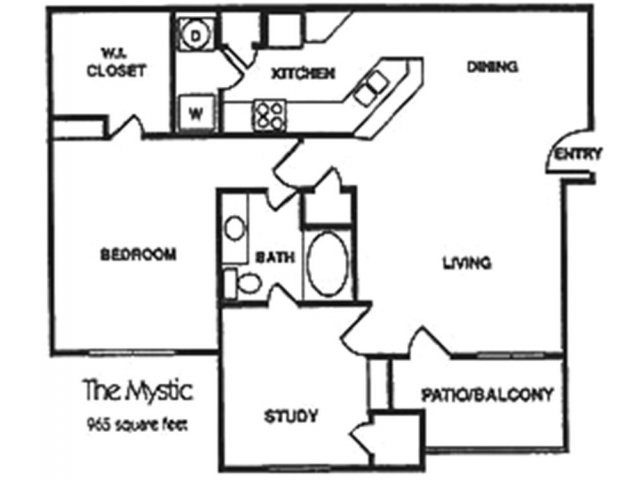 965 sq. ft. A3 floor plan