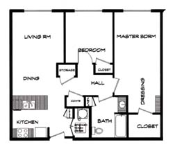 875 sq. ft. 60-A floor plan
