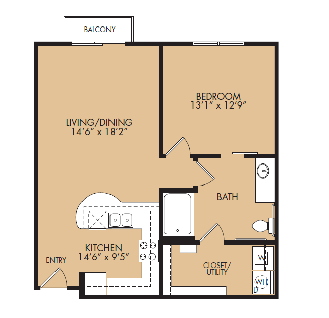 795 sq. ft. A2HC-Touchstone floor plan