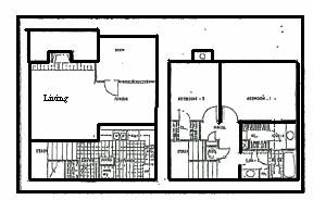 1,090 sq. ft. floor plan