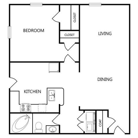 781 sq. ft. A8 floor plan
