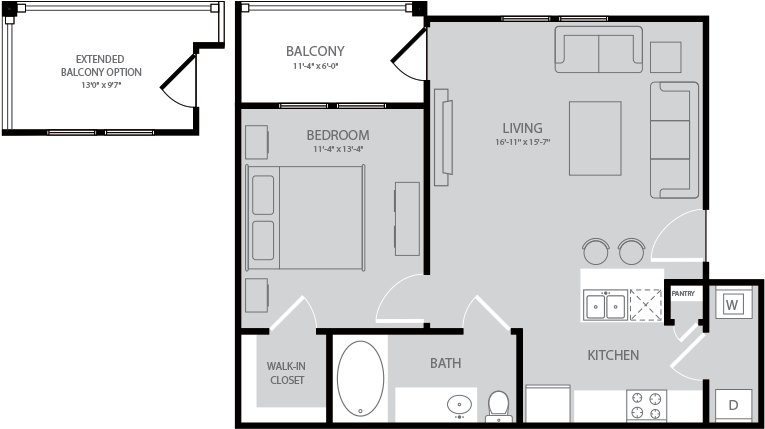 652 sq. ft. Alcotts floor plan