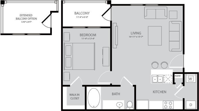 652 sq. ft. Alcotts floor plan