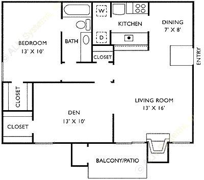 625 sq. ft. B floor plan
