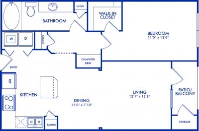 811 sq. ft. Harvard floor plan