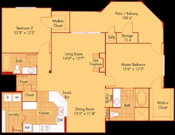 1,278 sq. ft. B42 floor plan