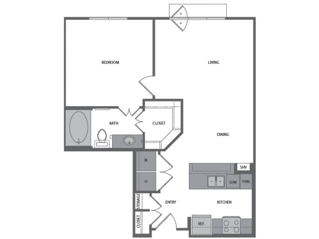 712 sq. ft. to 777 sq. ft. C floor plan