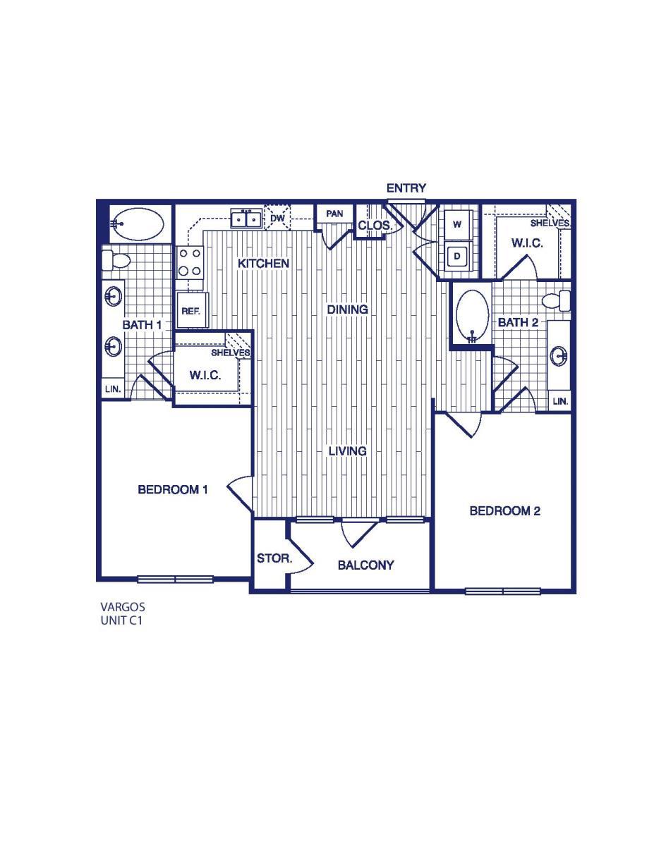 1,111 sq. ft. C1 floor plan