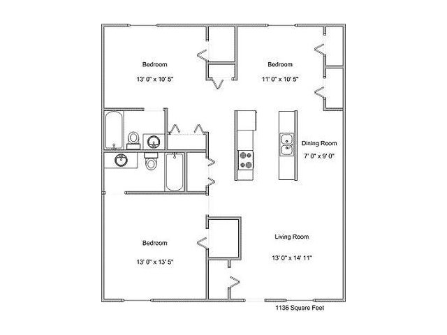 1,136 sq. ft. C1 floor plan