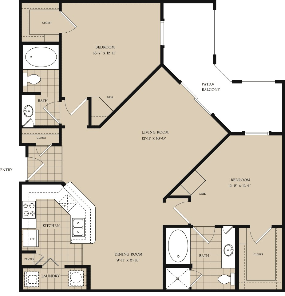 1,198 sq. ft. B3 floor plan