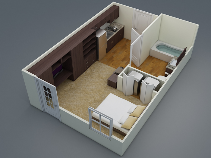 357 sq. ft. E2 floor plan