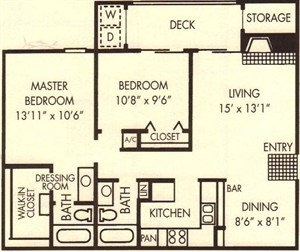 901 sq. ft. Holly floor plan