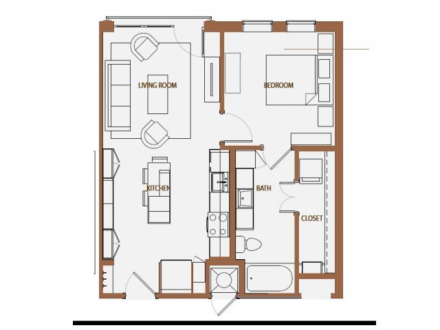 648 sq. ft. A1 floor plan