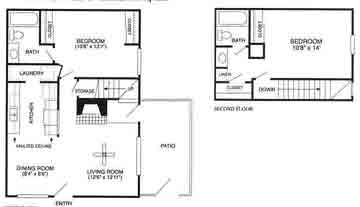 980 sq. ft. Cascade/B2TH floor plan