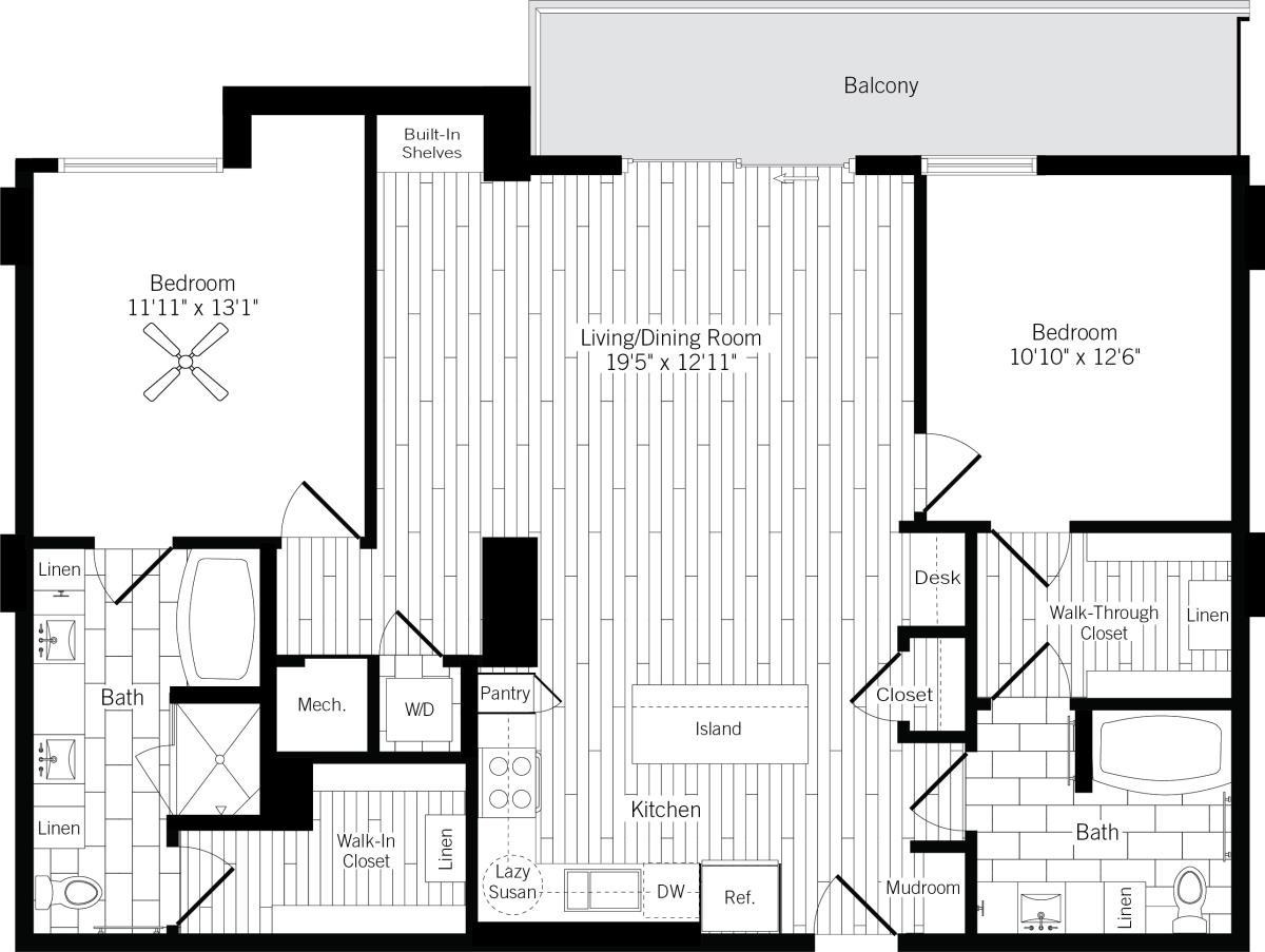 1,296 sq. ft. 2C floor plan