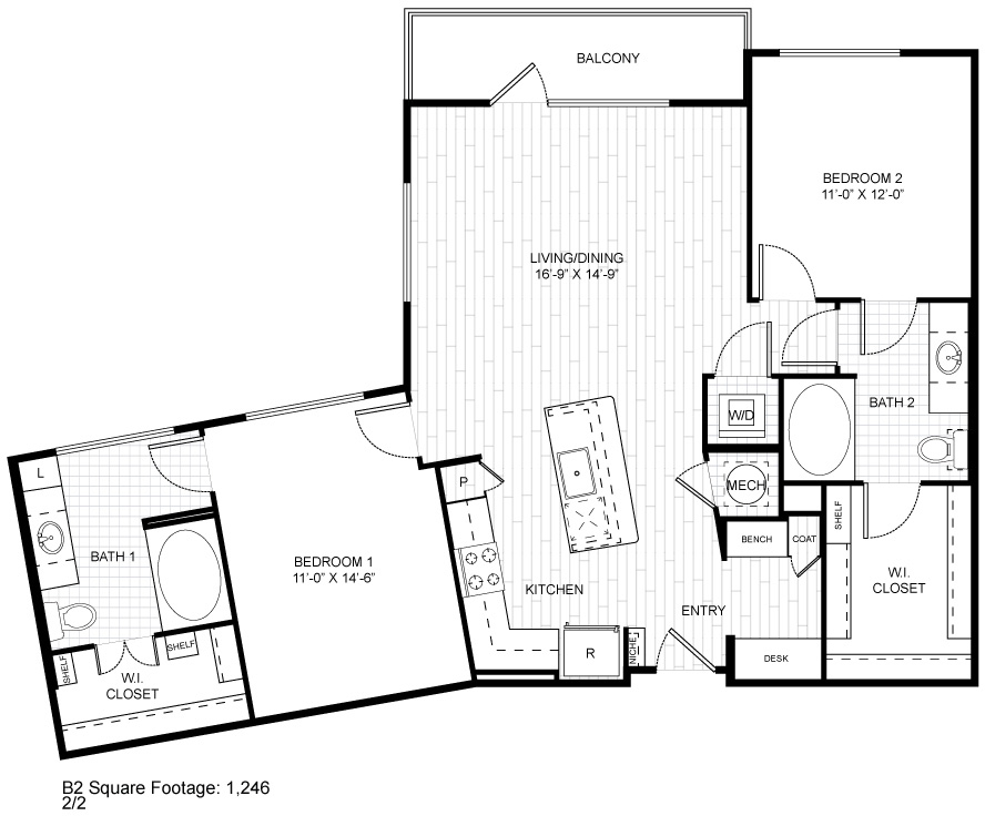 1,246 sq. ft. B2 floor plan