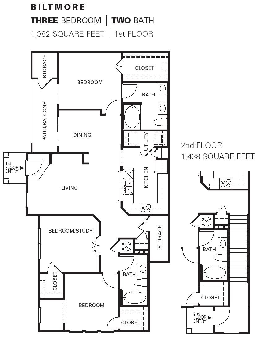 1,382 sq. ft. Biltmore floor plan