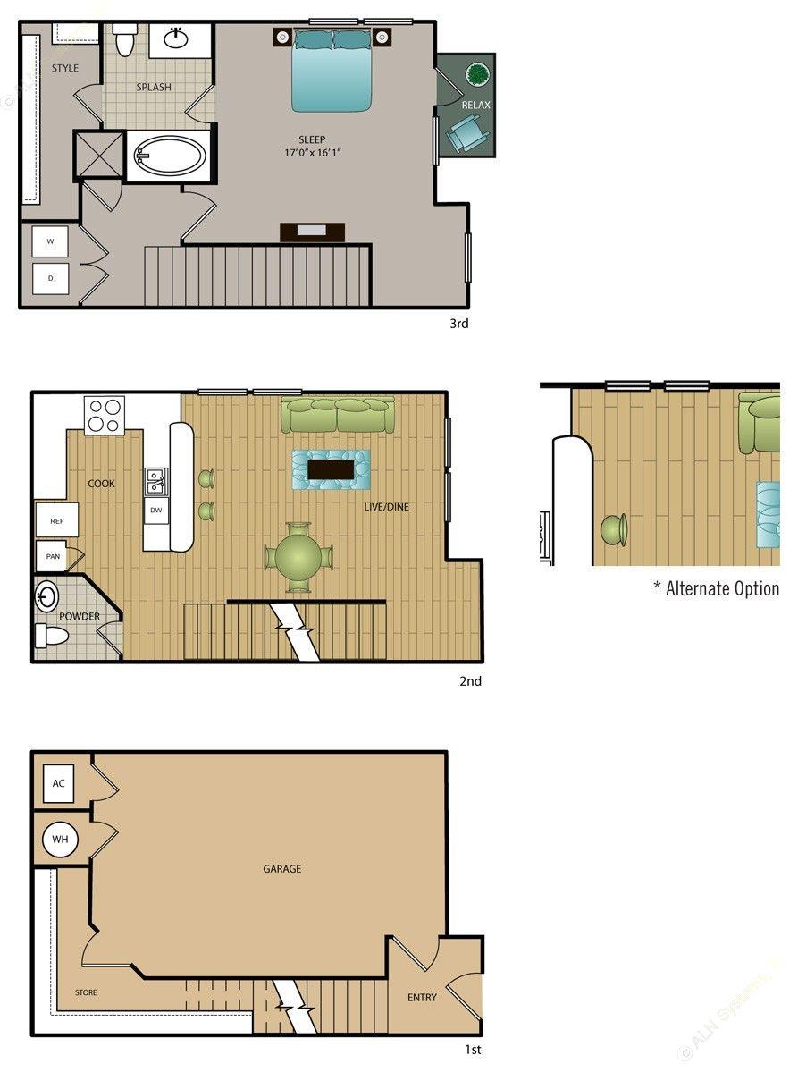 938 sq. ft. TH-A2 floor plan
