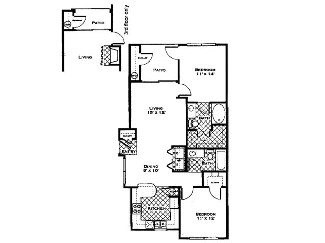 980 sq. ft. Primrose floor plan