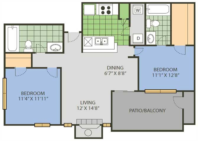 979 sq. ft. Tournament floor plan