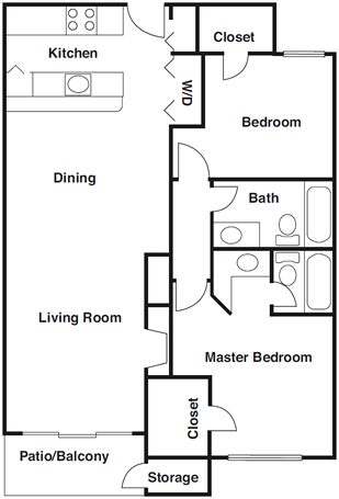 1,094 sq. ft. B3 floor plan