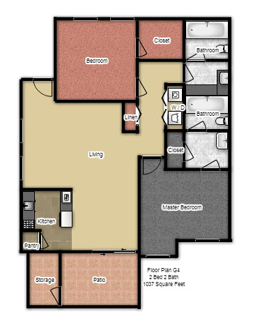 1,037 sq. ft. G4 floor plan