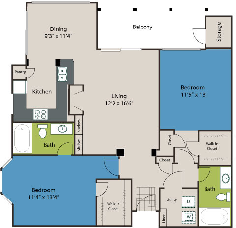 1,140 sq. ft. B2 floor plan