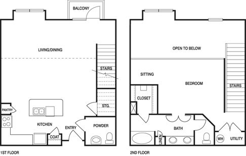 1,164 sq. ft. S1B floor plan