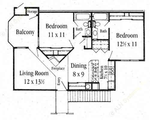 934 sq. ft. B-1 floor plan