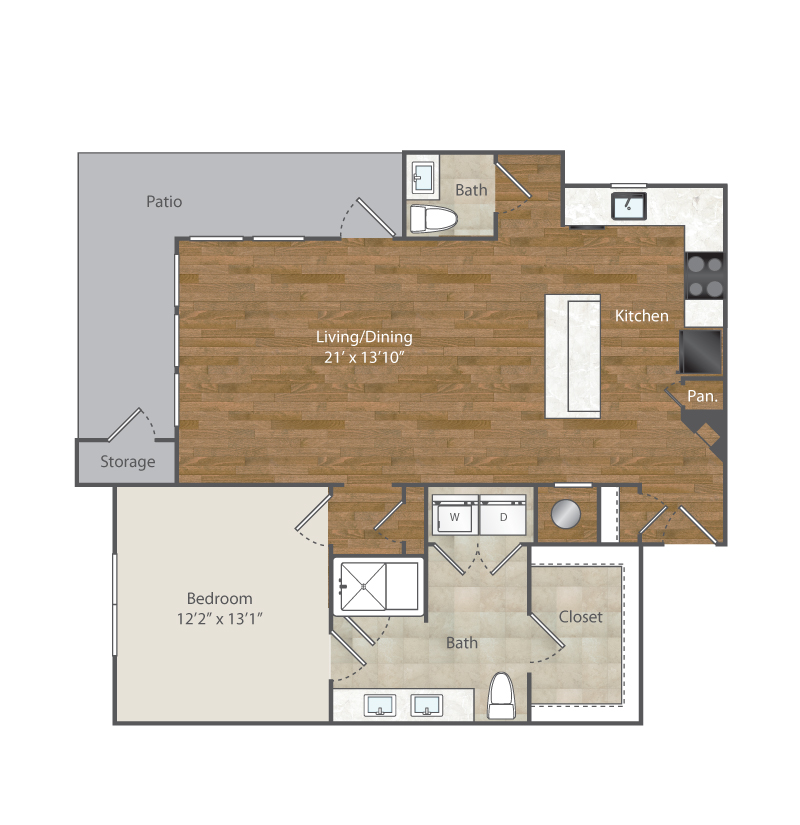 994 sq. ft. A7 floor plan