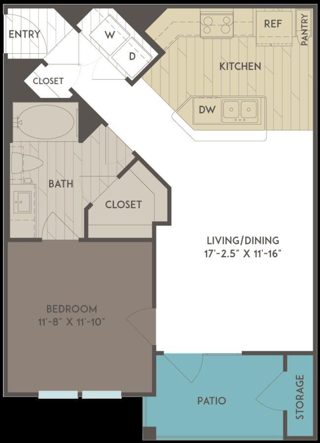 681 sq. ft. floor plan