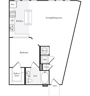 764 sq. ft. E2.1 floor plan