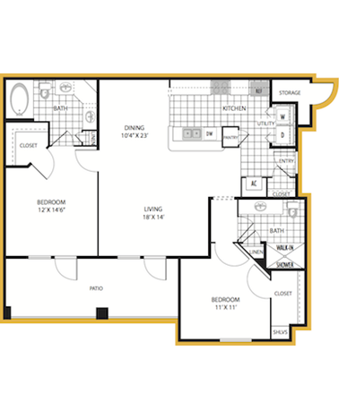 1,122 sq. ft. Ravenna floor plan