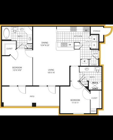 1,122 sq. ft. Ravenna floor plan