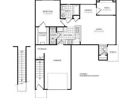 675 sq. ft. to 722 sq. ft. Sonterra floor plan