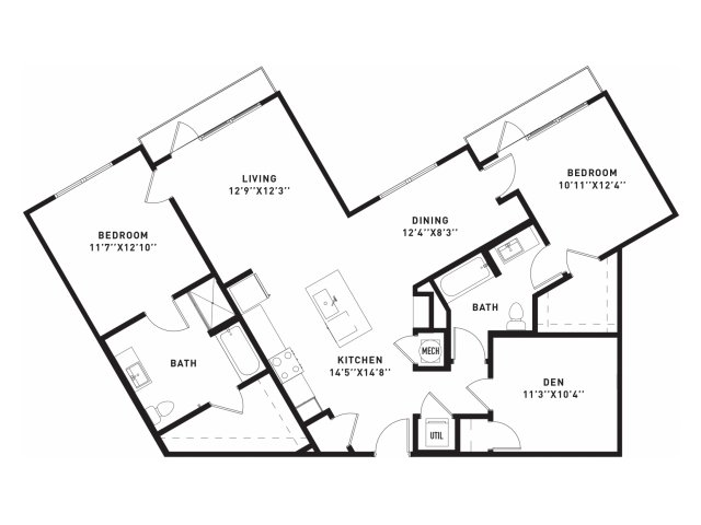 1,371 sq. ft. B10 floor plan