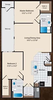 1,086 sq. ft. C2/Wharton floor plan