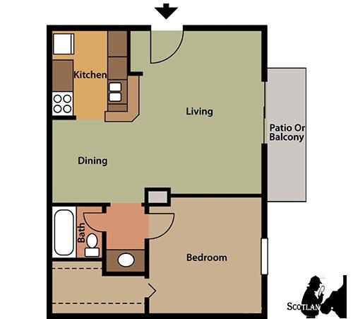 567 sq. ft. A1 floor plan